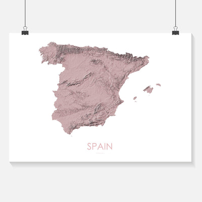 Spain Map 3D Rose-Topographic Map