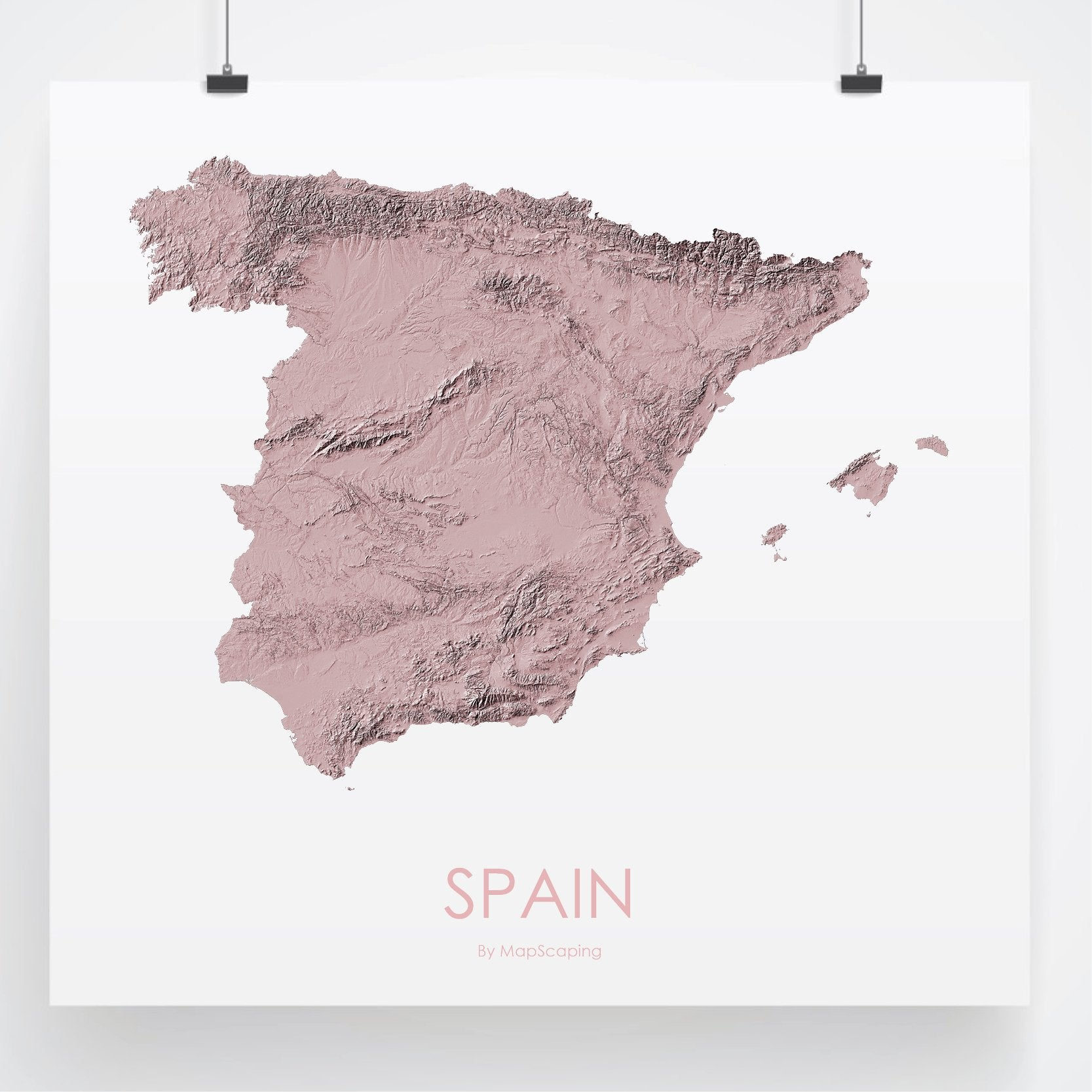 Topographical Map Of Spain.Spain Map 3d Rose