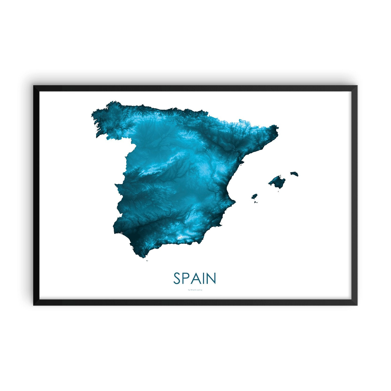 Spain Map Petroleum Blue-Topographic Map