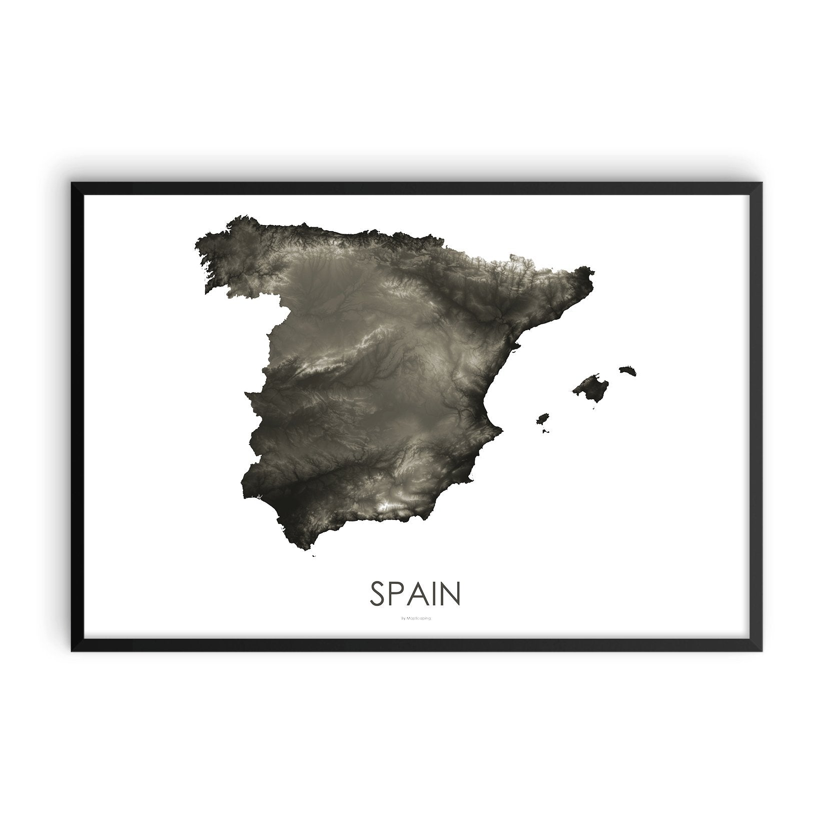Spain Map Slate-Topographic Map