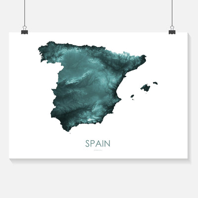 Spain Map Teal-Topographic Map