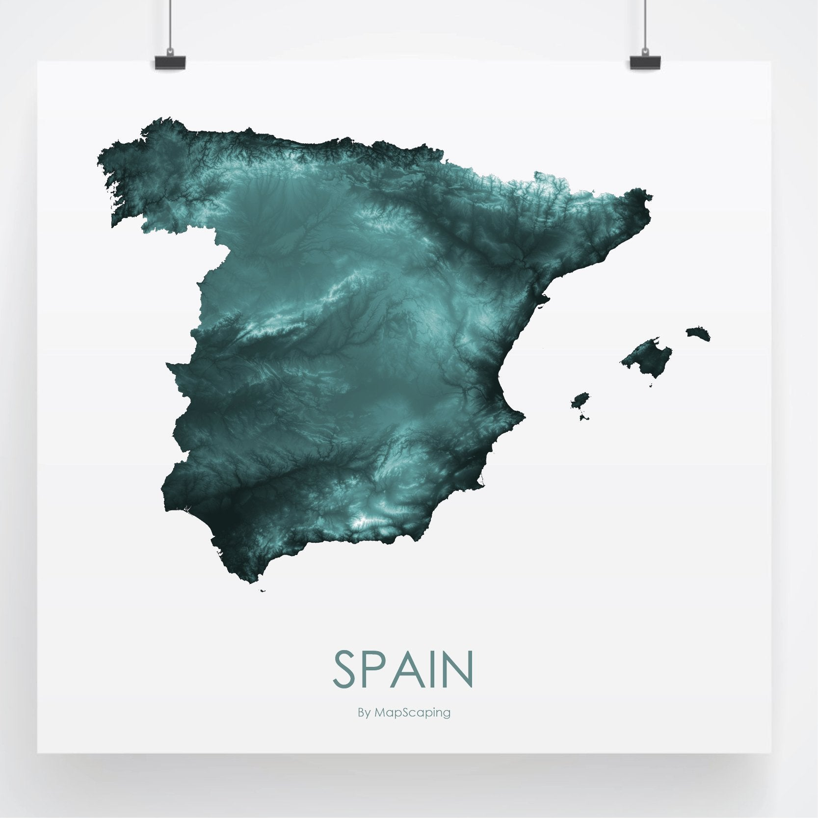 Topographical Map Of Spain.Spain Map Teal