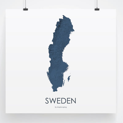 Sweden Map 3D Midnight Blue-Topographic Map