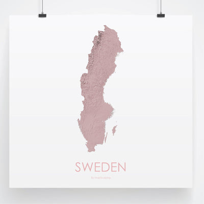 Sweden Map 3D Rose-Topographic Map