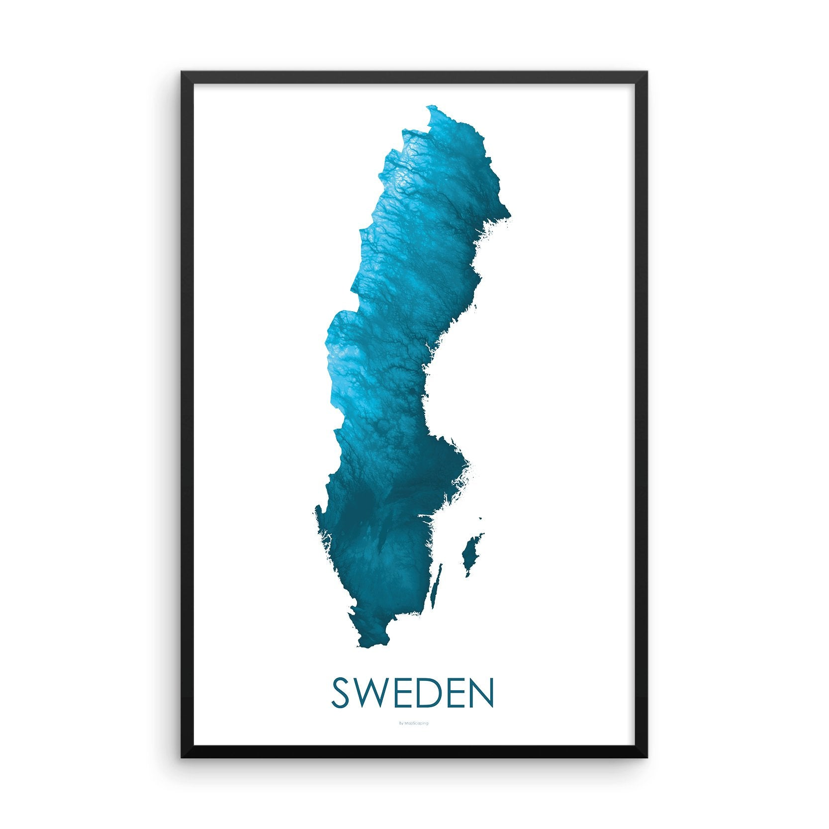 Sweden Map Petroleum Blue-Topographic Map