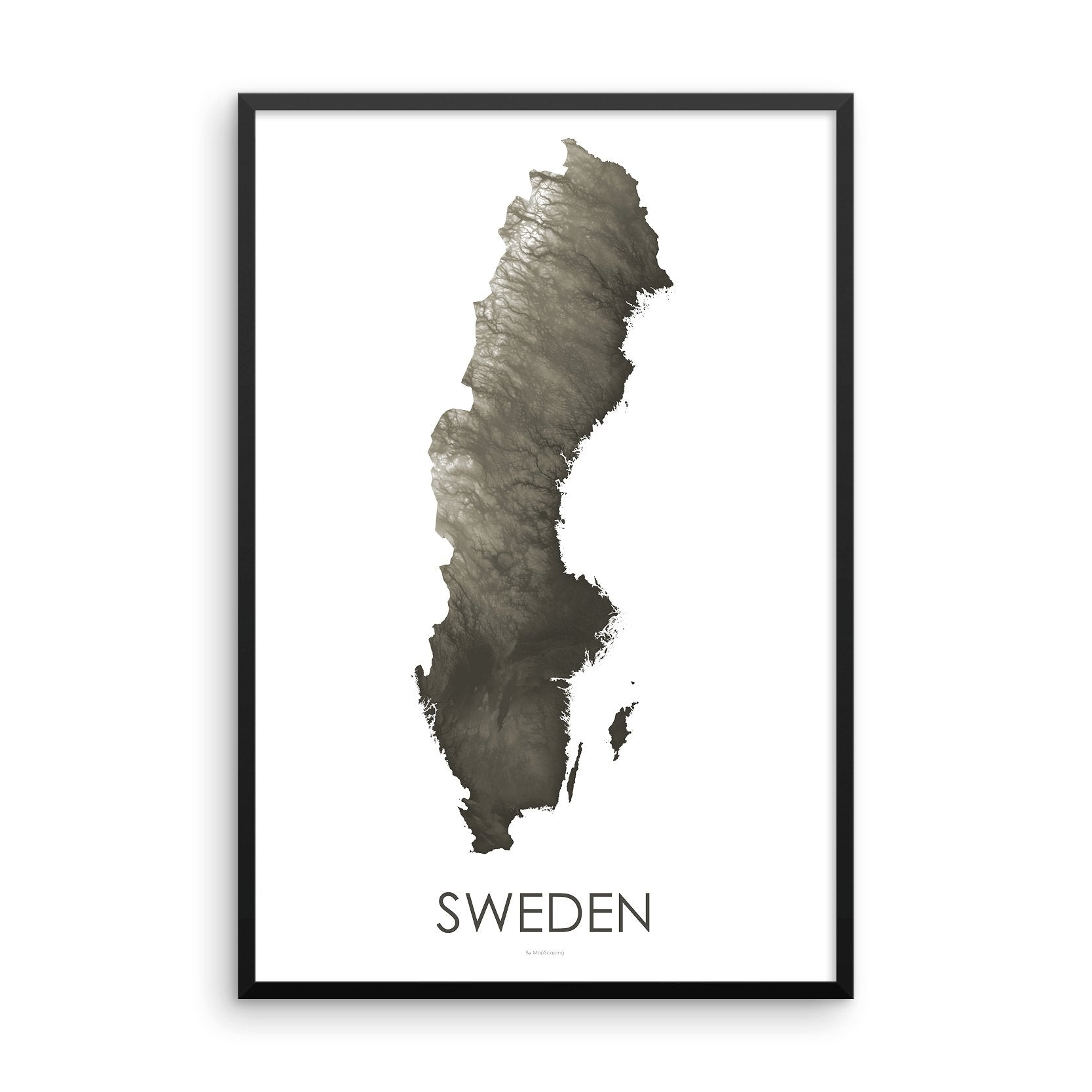 Sweden Map Slate-Topographic Map