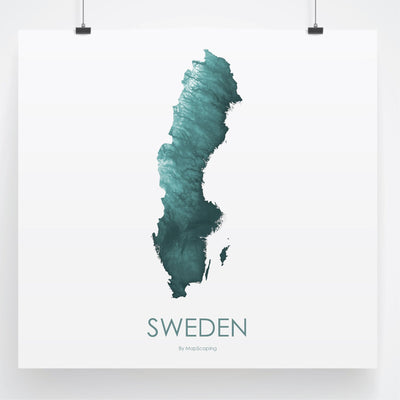 Sweden Map Teal-Topographic Map