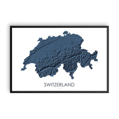 Switzerland Map 3D Midnight Blue-Topographic Map