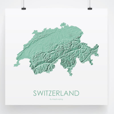 Switzerland Map 3D Mint-Topographic Map