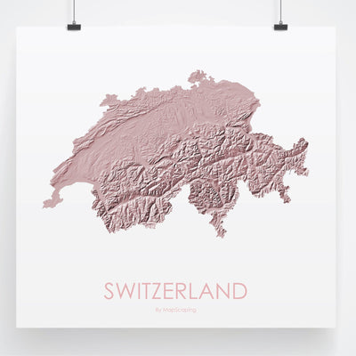 Switzerland Map 3D Rose-Topographic Map