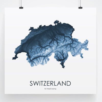 Switzerland Map Midnight Blue-Topographic Map