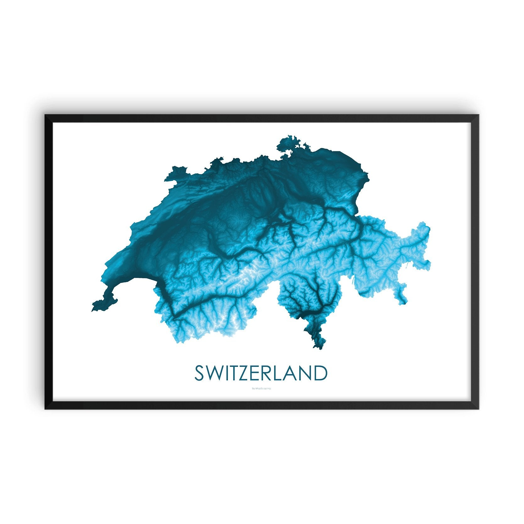 Switzerland Map Petroleum Blue-Topographic Map