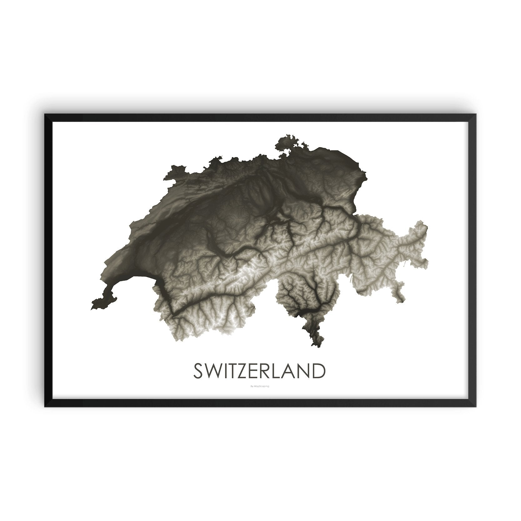 Switzerland Map Slate-Topographic Map
