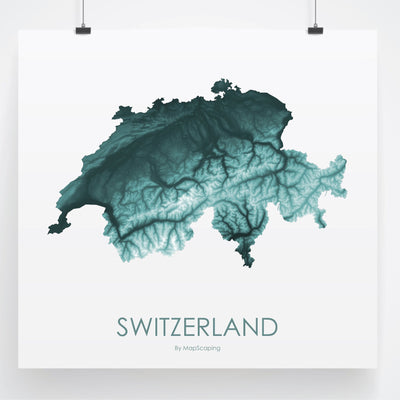Switzerland Map Teal-Topographic Map