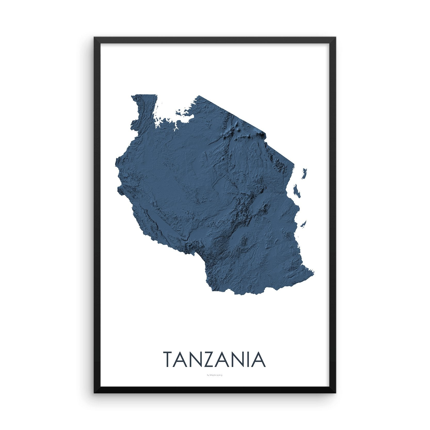 Tanzania Map 3D Midnight Blue