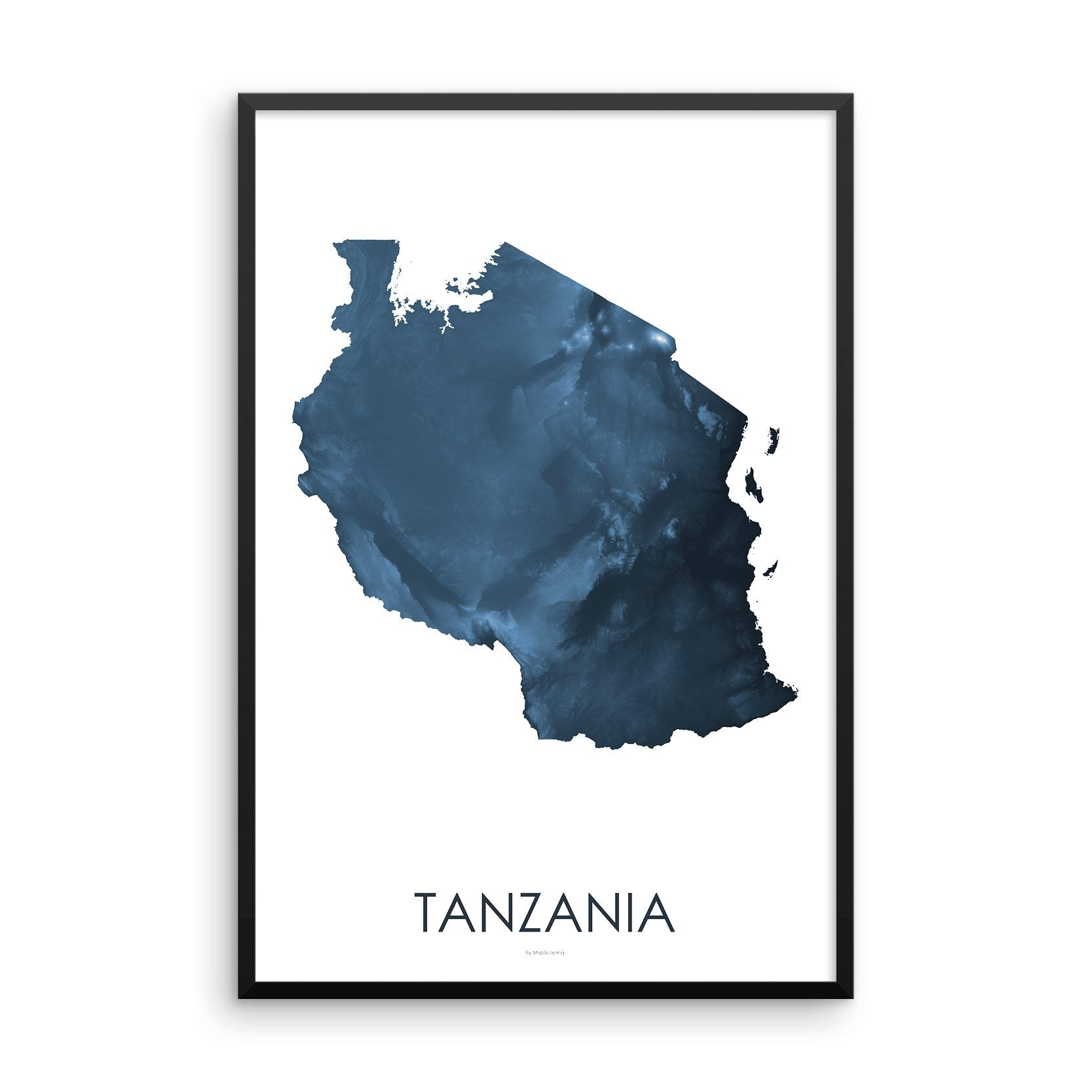 Tanzania Map Midnight Blue