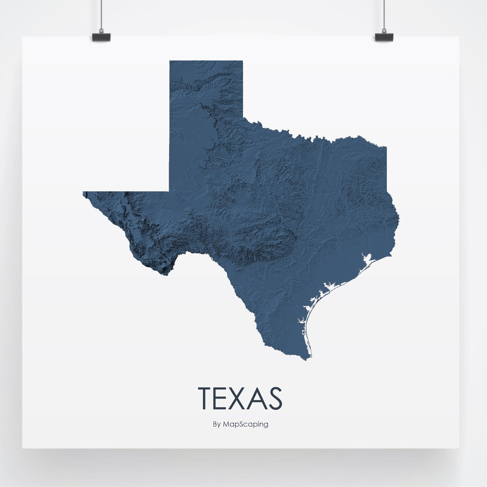 Texas Poster Solid Midnight Blue -Topographic map art by MapScaping
