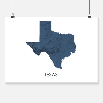 Texas Map 3D Midnight Blue-Topographic Map