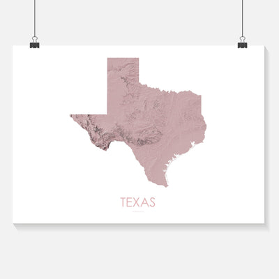 Texas Map 3D Rose-Topographic Map