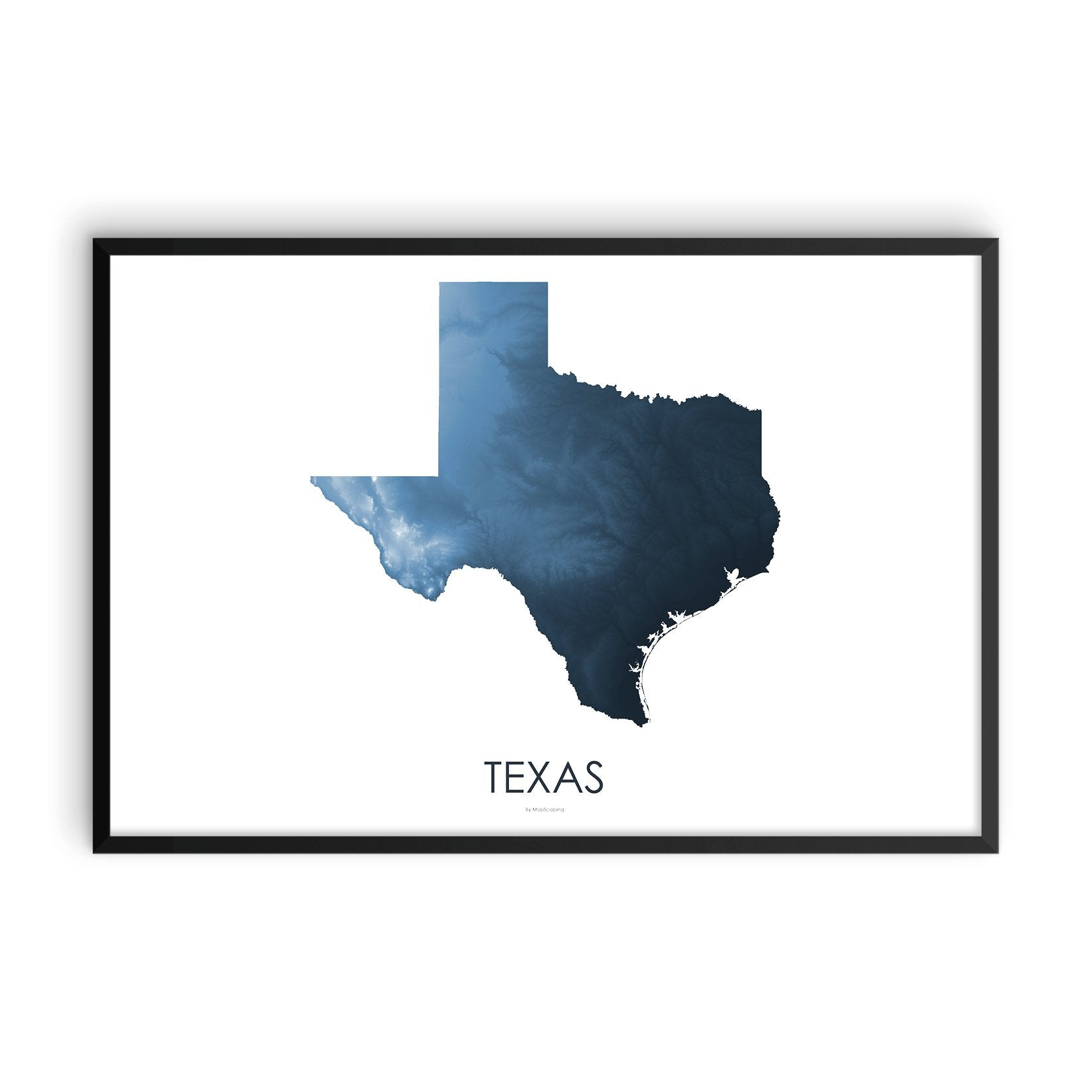 Texas Map Midnight Blue-Topographic Map