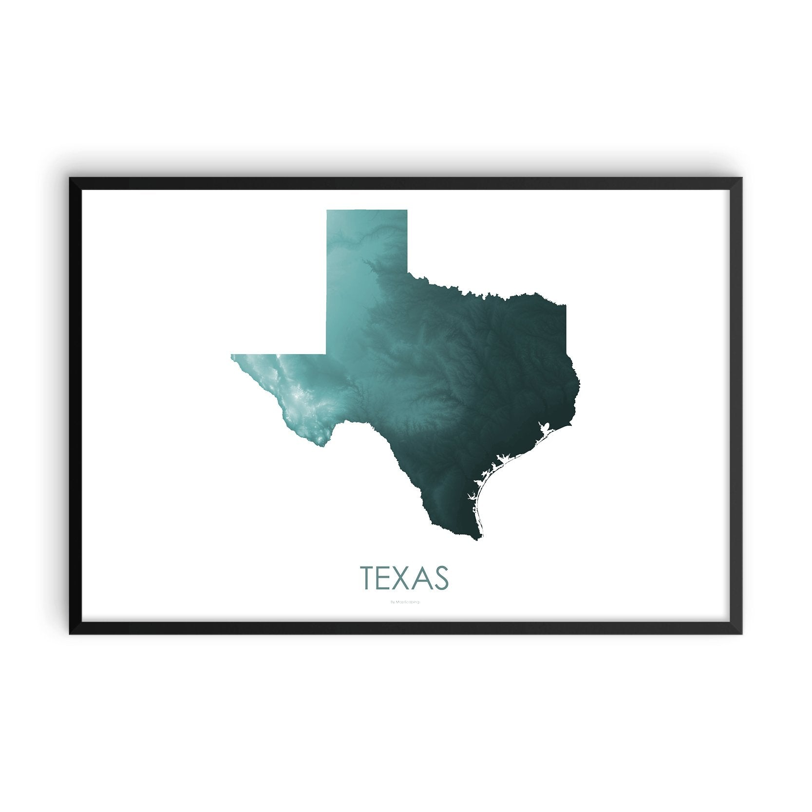 Texas Map Teal-Topographic Map