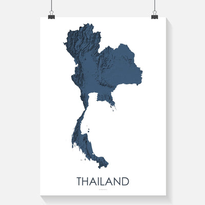 Thailand Map 3D Midnight Blue-Topographic Map