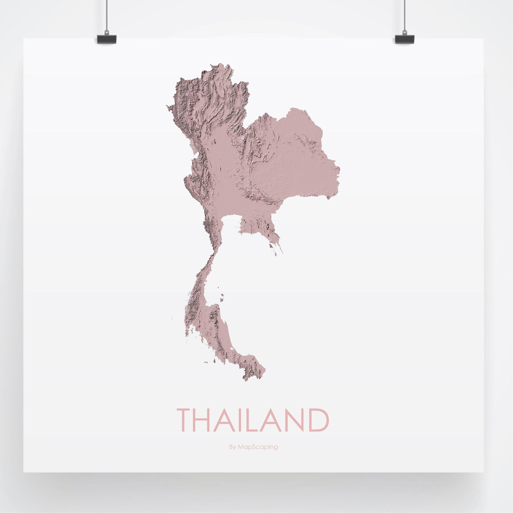 Thailand Topographic Map.Thailand Topographic Wall Art Map Mapscaping Com