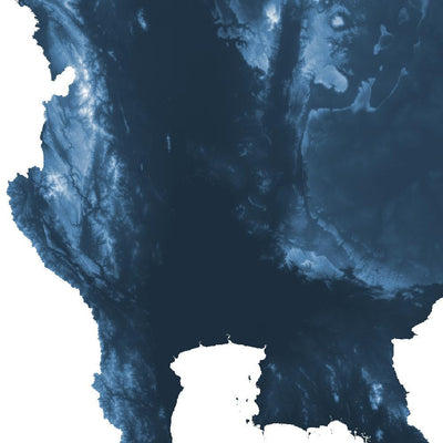 Thailand Map Midnight Blue-Topographic Map