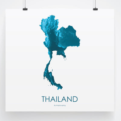 Thailand Map Petroleum Blue-Topographic Map