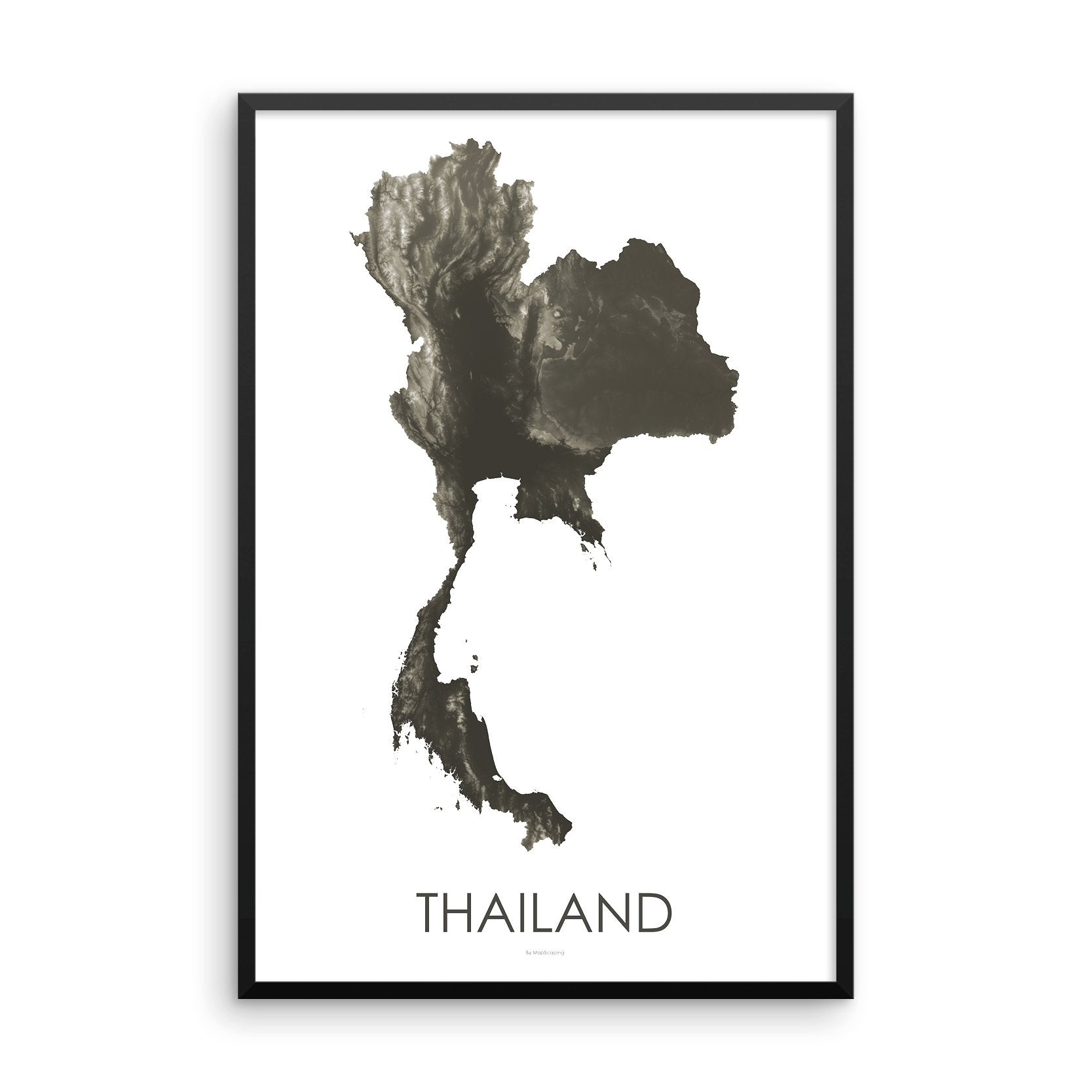 Thailand Map Slate-Topographic Map