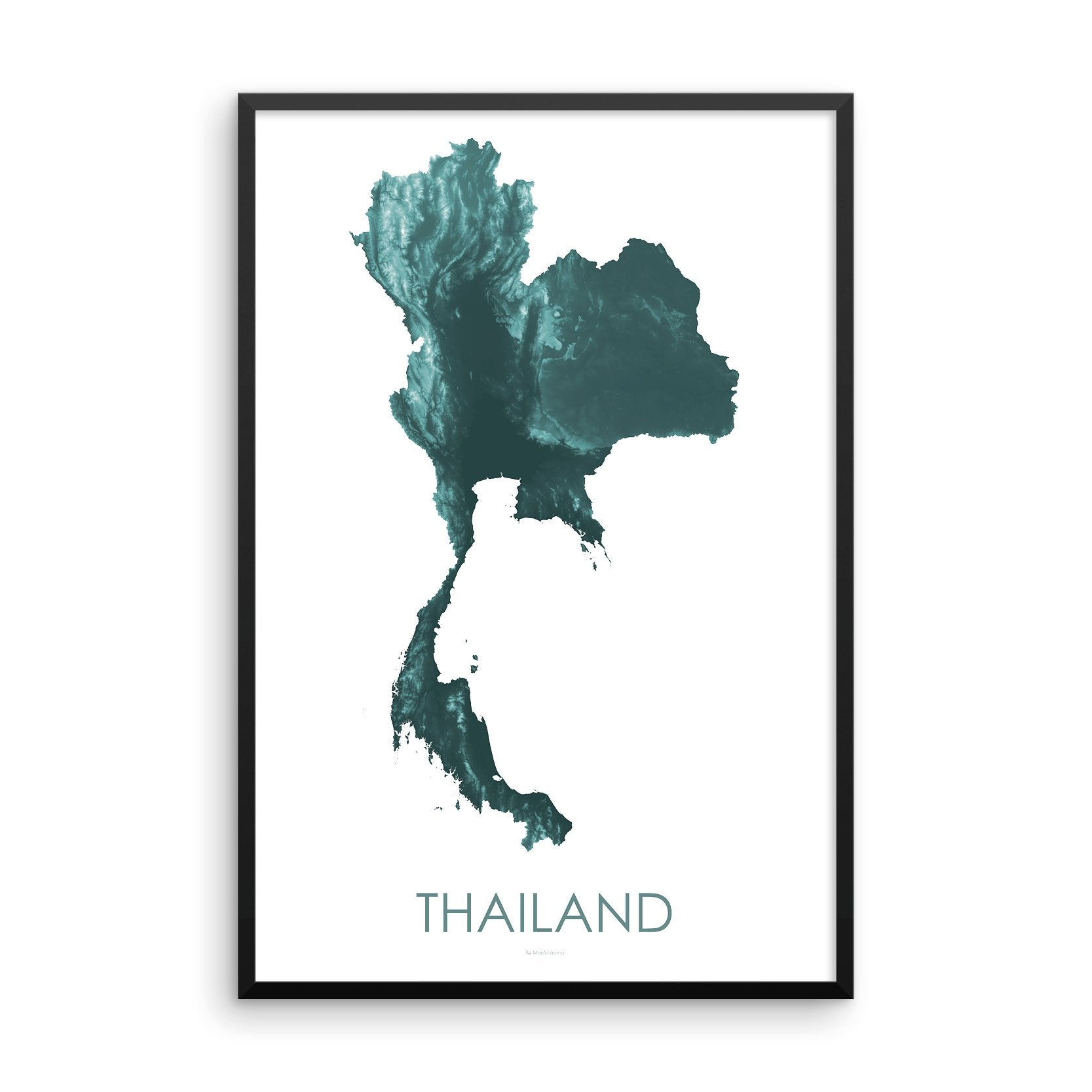 Thailand Map Teal-Topographic Map