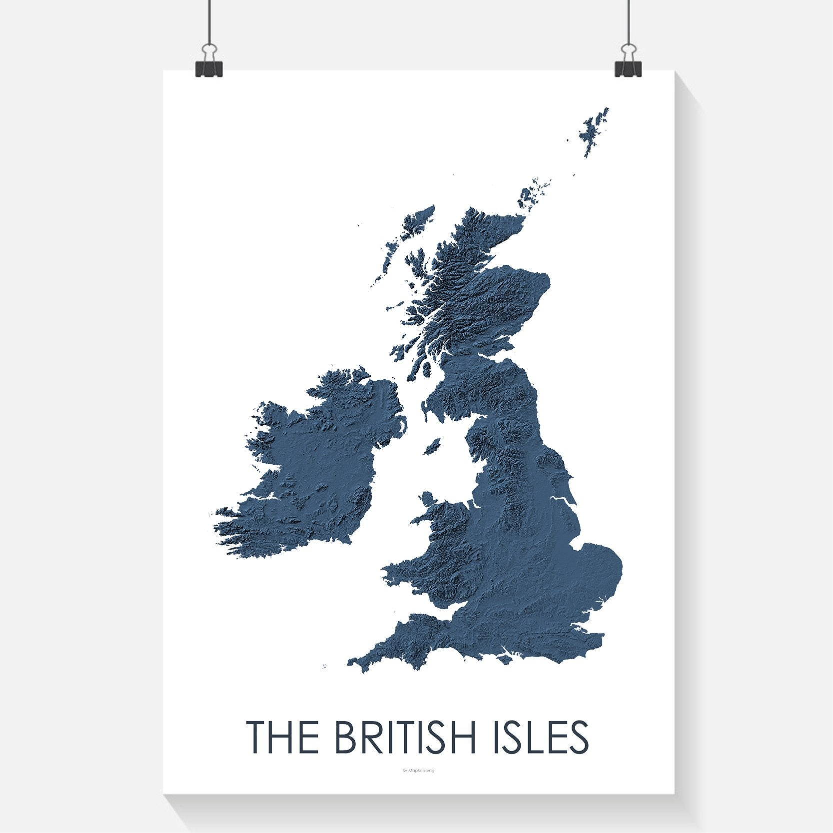 The British Isles topographic wall art map - MapScaping.com