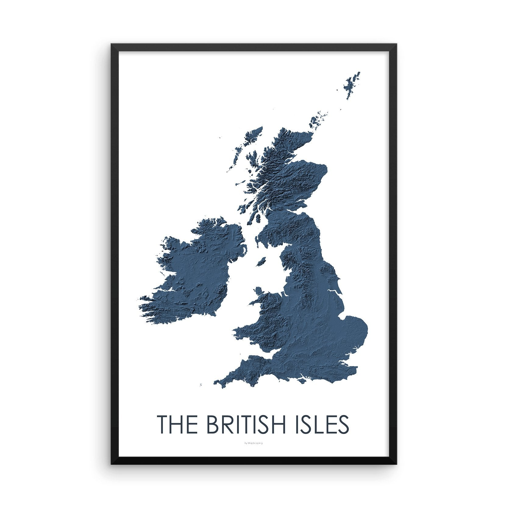 The British Isles Map 3D Midnight Blue-Topographic Map