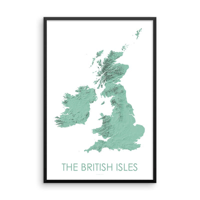The British Isles Map 3D Mint-Topographic Map