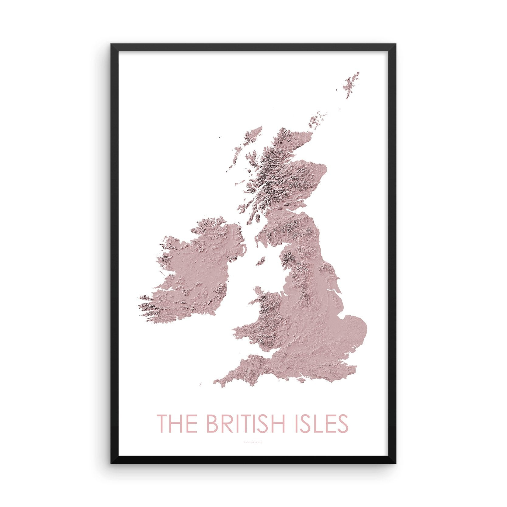The British Isles Map 3D Rose-Topographic Map