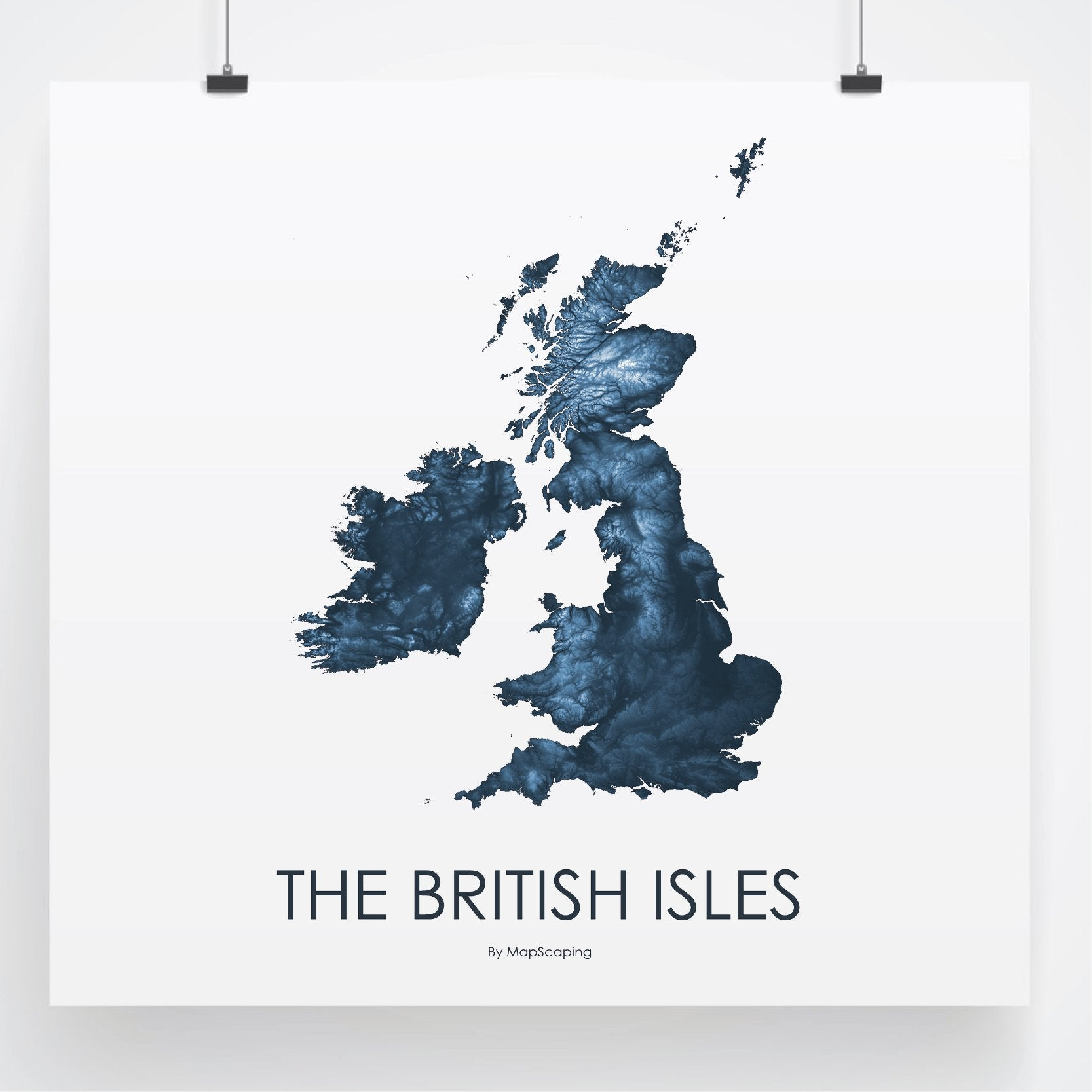 The British Isles Poster Midnight Blue -Topographic map art by ...