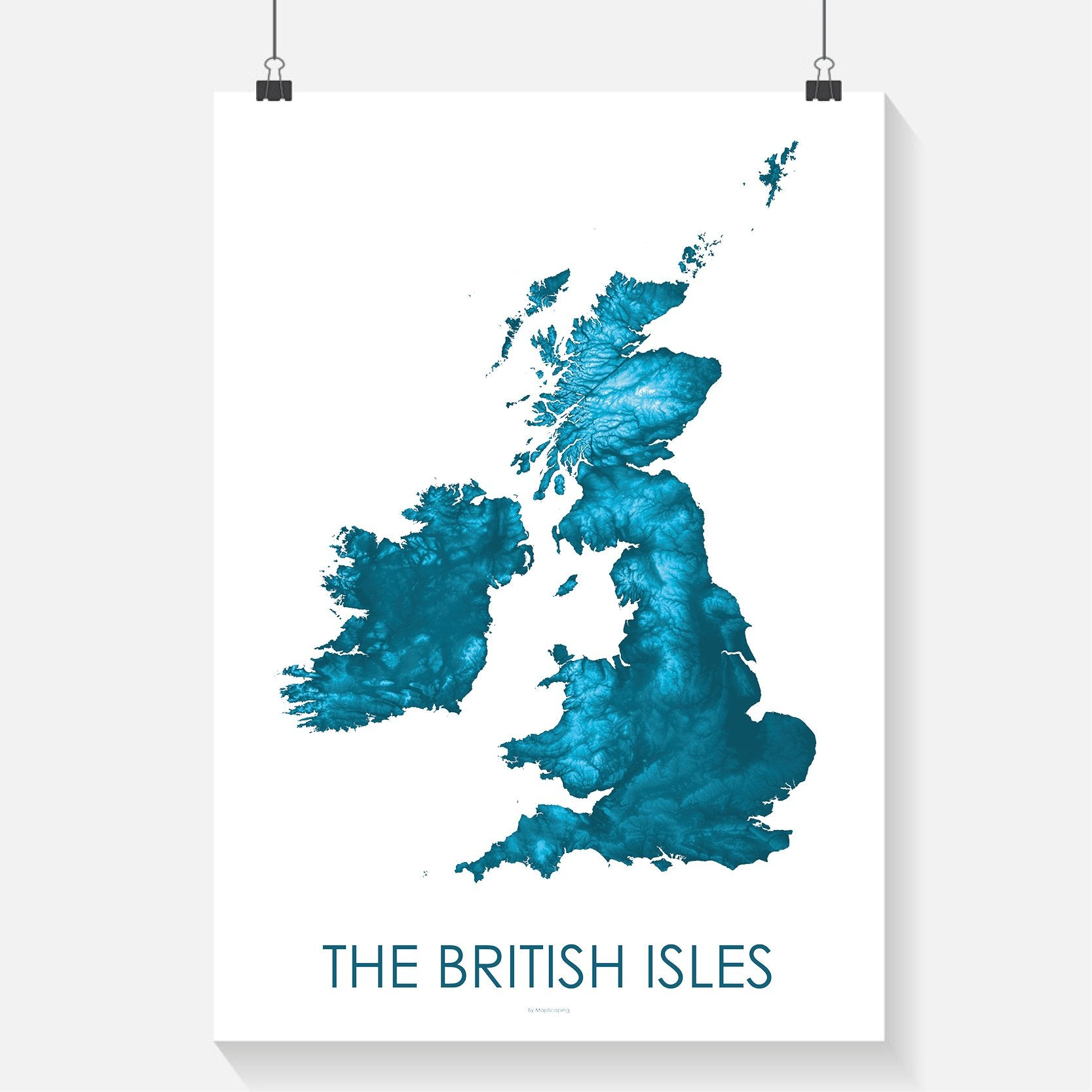 The British Isles Poster Petroleum Blue -Topographic map art by ...