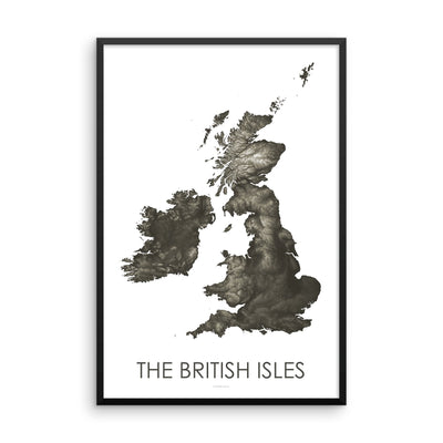 The British Isles Map Slate-Topographic Map
