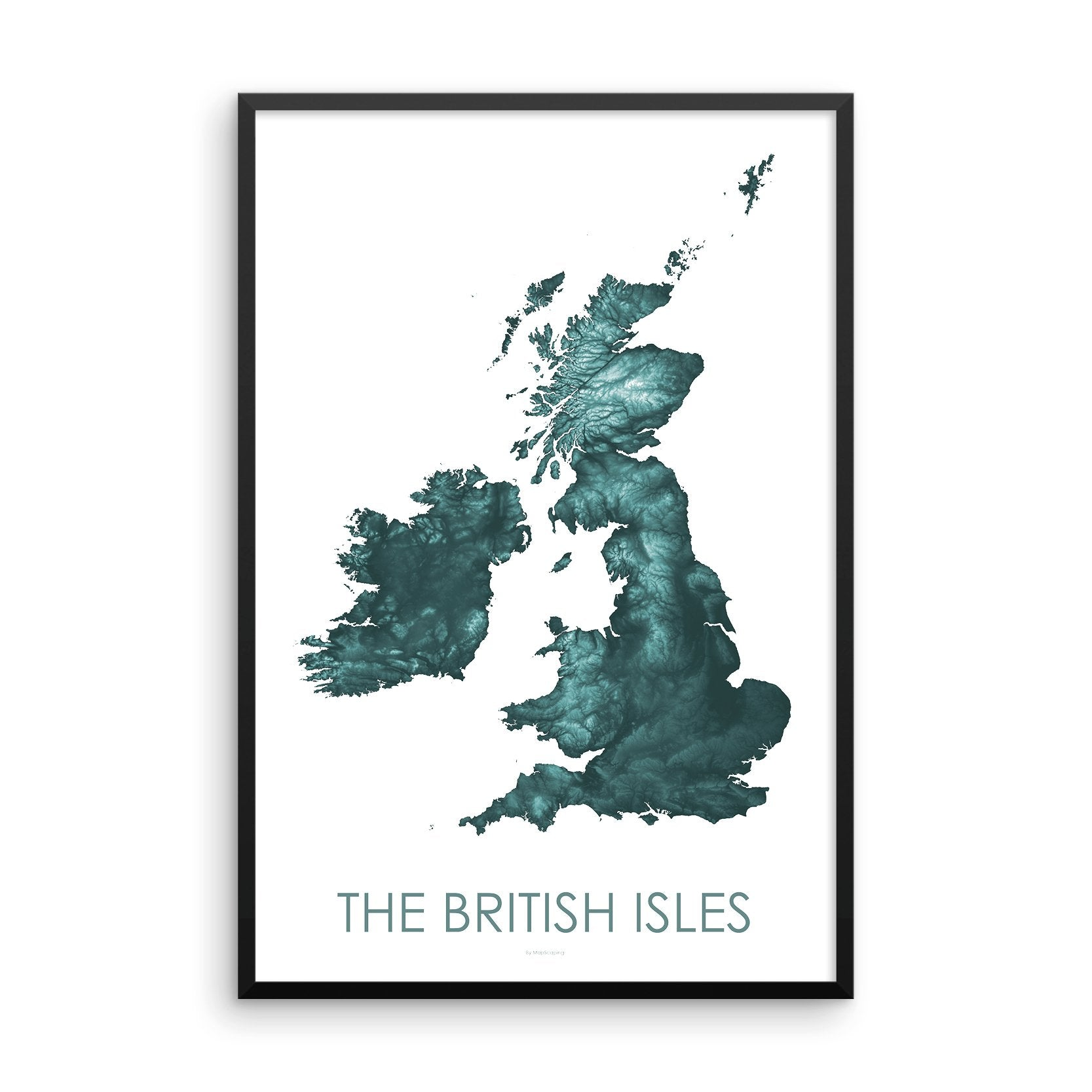 The British Isles Map Teal-Topographic Map