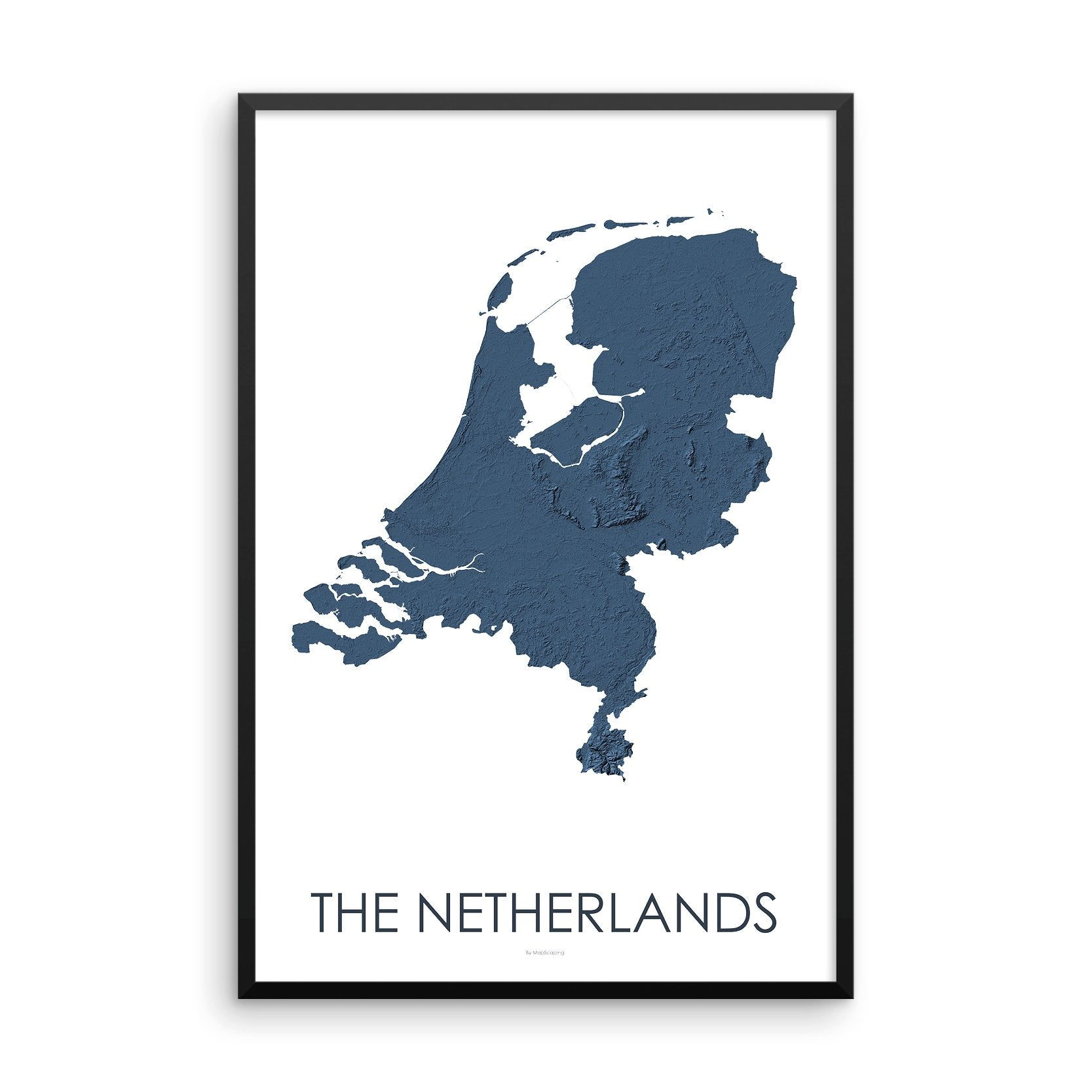 The Netherlands Map 3D Midnight Blue-Topographic Map