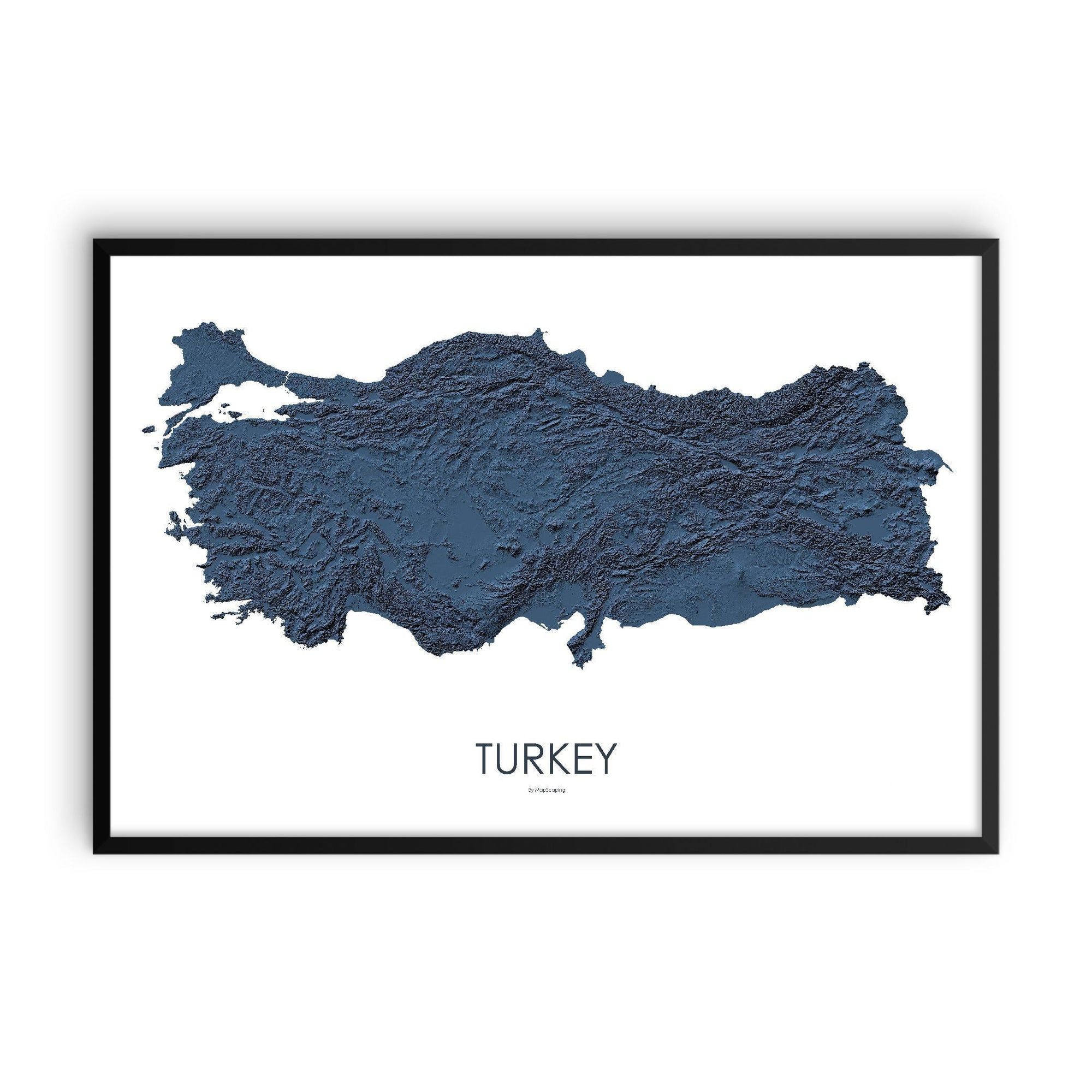Turkey Poster 3D Midnight Blue-topographic wall art map by MapScaping