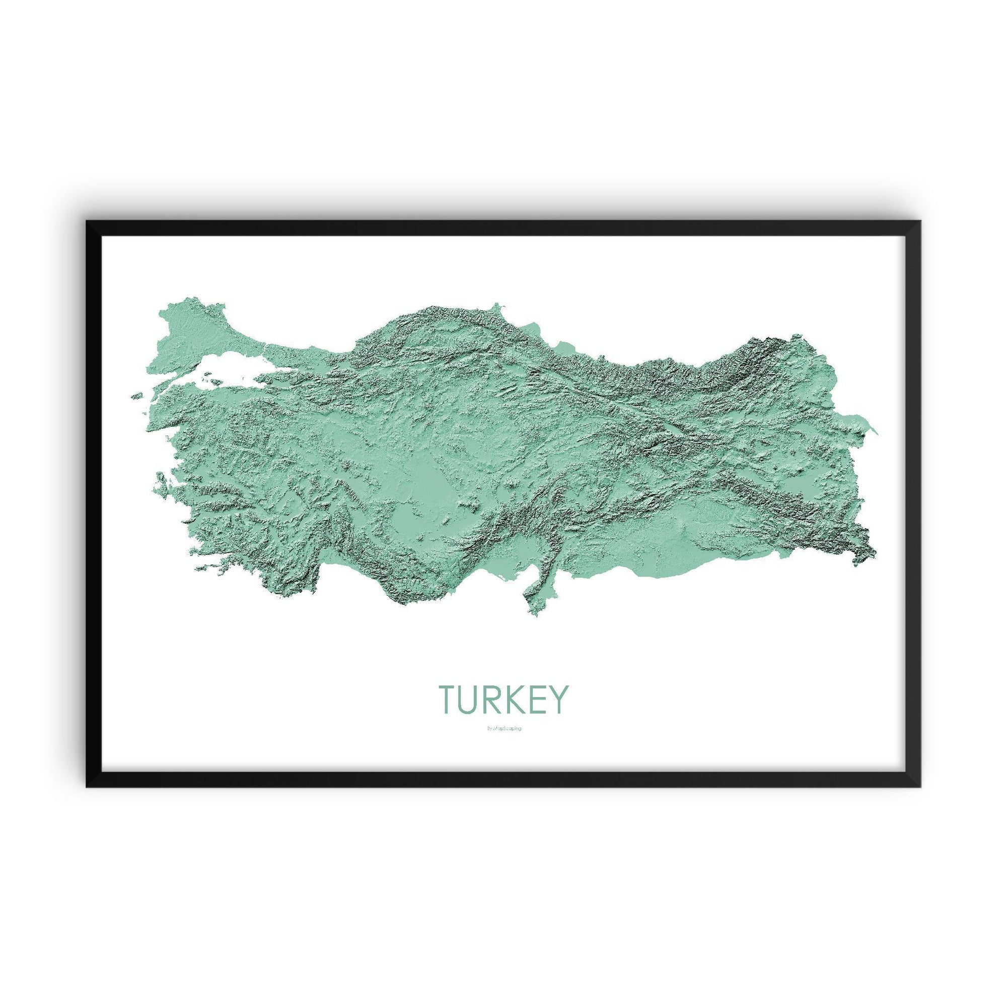 Turkey Poster 3D Mint-topographic wall art map by MapScaping
