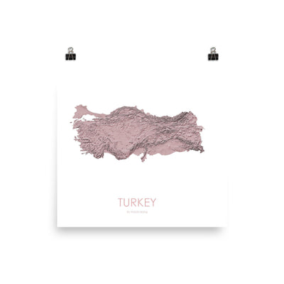 "Turkey Poster 3D Rose-10""x10"" - 25.4cm x 25.4cm-topographic wall art map by MapScaping"