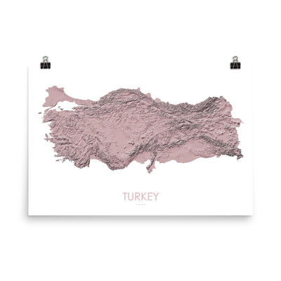 Turkey Poster 3D Rose-50cm x 70cm (Europe)-topographic wall art map by MapScaping