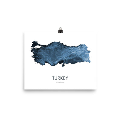 "Turkey Poster Midnight Blue-8""x10"" - 20.32cm x 25.4cm-topographic wall art map by MapScaping"