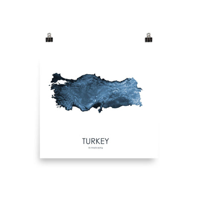 "Turkey Poster Midnight Blue-10""x10"" - 25.4cm x 25.4cm-topographic wall art map by MapScaping"