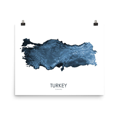 "Turkey Poster Midnight Blue-16""×20"" - 40.64cm x 50.8cm-topographic wall art map by MapScaping"