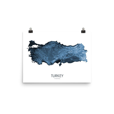"Turkey Poster Midnight Blue-12""x16"" -30.48cm x 40.64cm-topographic wall art map by MapScaping"
