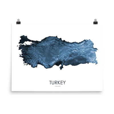 "Turkey Poster Midnight Blue-18""×24"" - 45.72cm x 60.96cm-topographic wall art map by MapScaping"