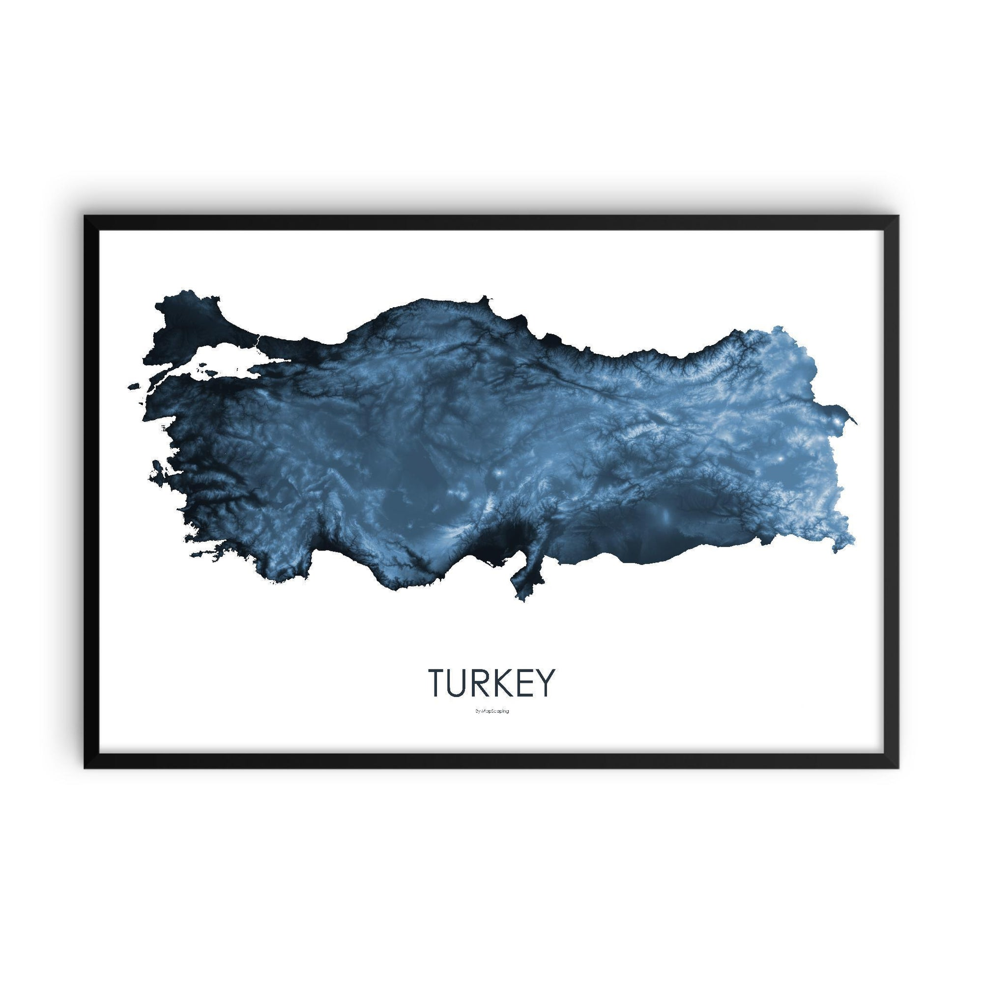 Turkey Poster Midnight Blue-topographic wall art map by MapScaping
